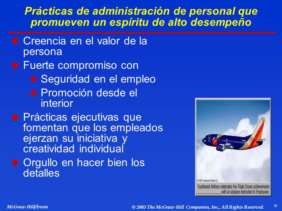 Prácticas de administración de personal que promueven un espíritu de alto desempeño