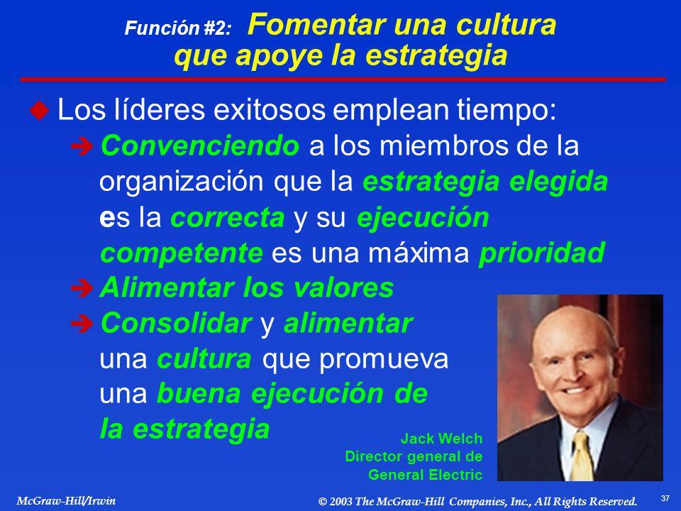 Función #2: Fomentar una cultura que apoye la estrategia