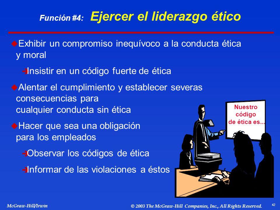 Función #4: Ejercer el liderazgo ético
