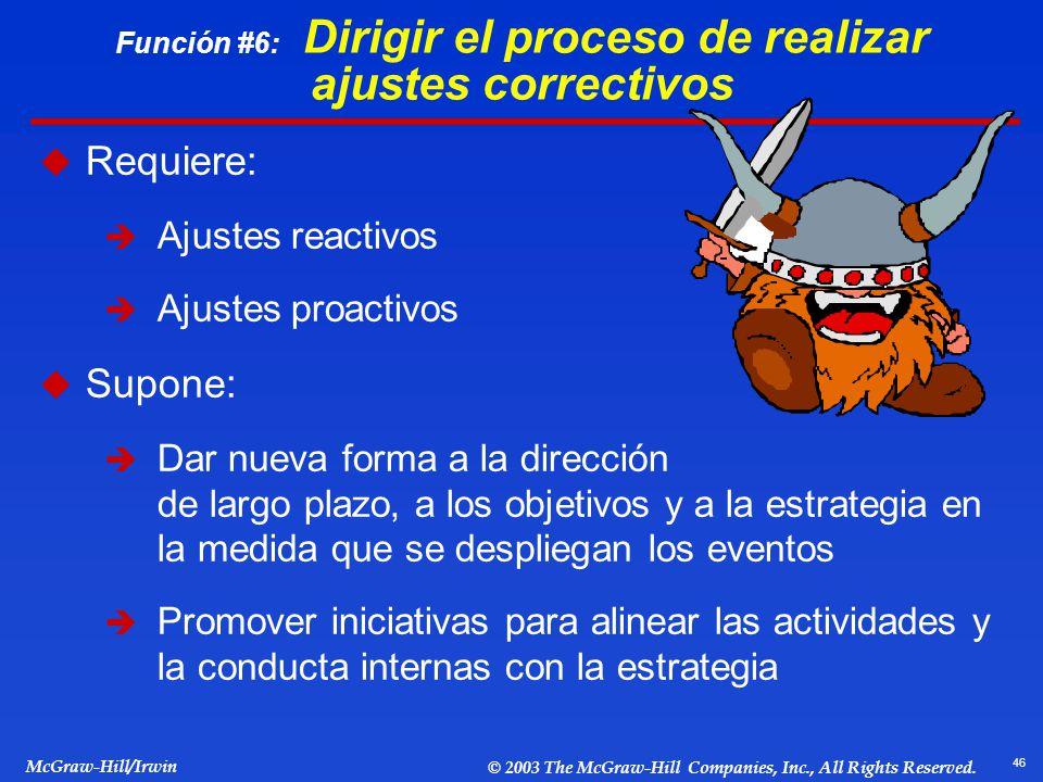 Función #6: Dirigir el proceso de realizar ajustes correctivos