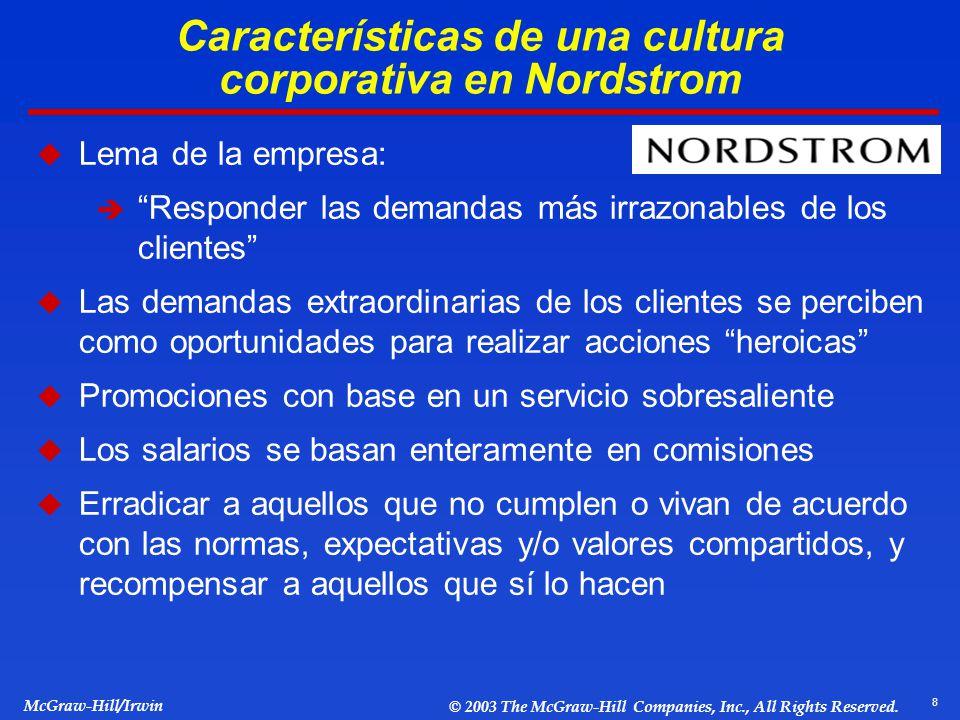 Características de una cultura corporativa en Nordstrom