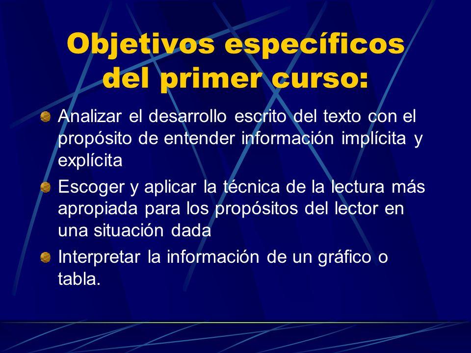 Objetivos específicos del primer curso: