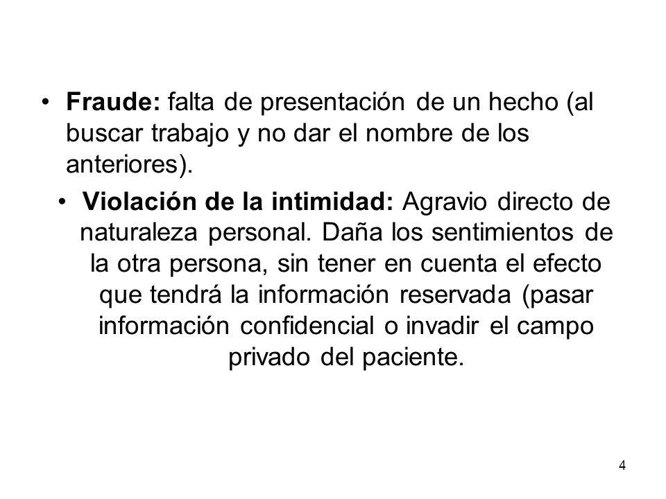 Fraude: falta de presentación de un hecho (al buscar trabajo y no dar el nombre de los anteriores).