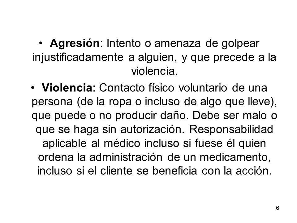 Agresión: Intento o amenaza de golpear injustificadamente a alguien, y que precede a la violencia.