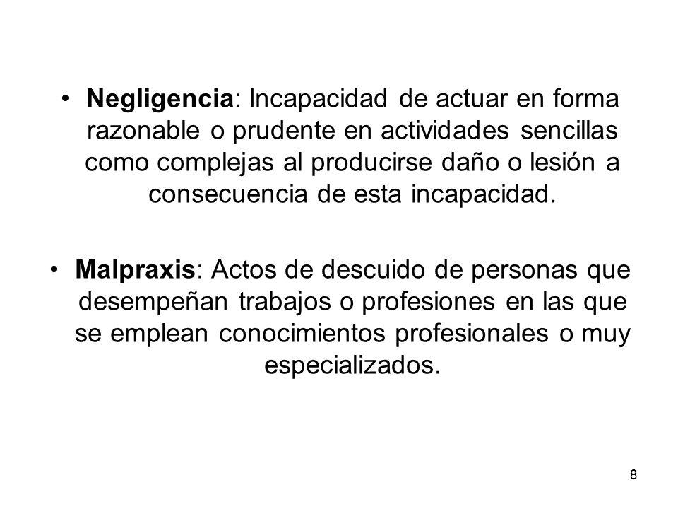 Negligencia: Incapacidad de actuar en forma razonable o prudente en actividades sencillas como complejas al producirse daño o lesión a consecuencia de esta incapacidad.
