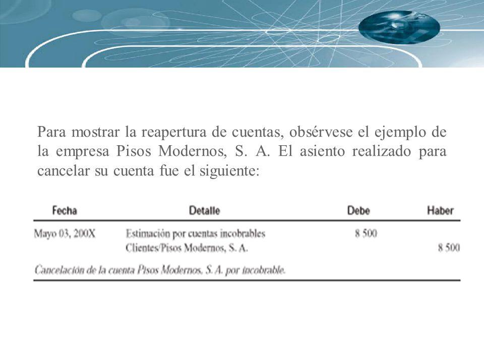 Para mostrar la reapertura de cuentas, obsérvese el ejemplo de la empresa Pisos Modernos, S.