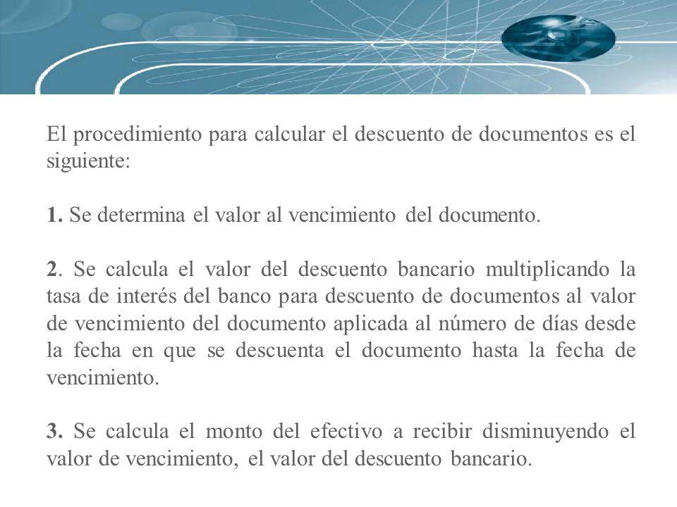 El procedimiento para calcular el descuento de documentos es el siguiente: