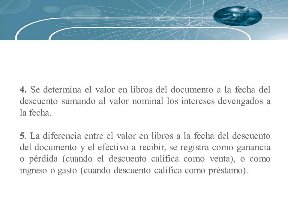 4. Se determina el valor en libros del documento a la fecha del descuento sumando al valor nominal los intereses devengados a la fecha.