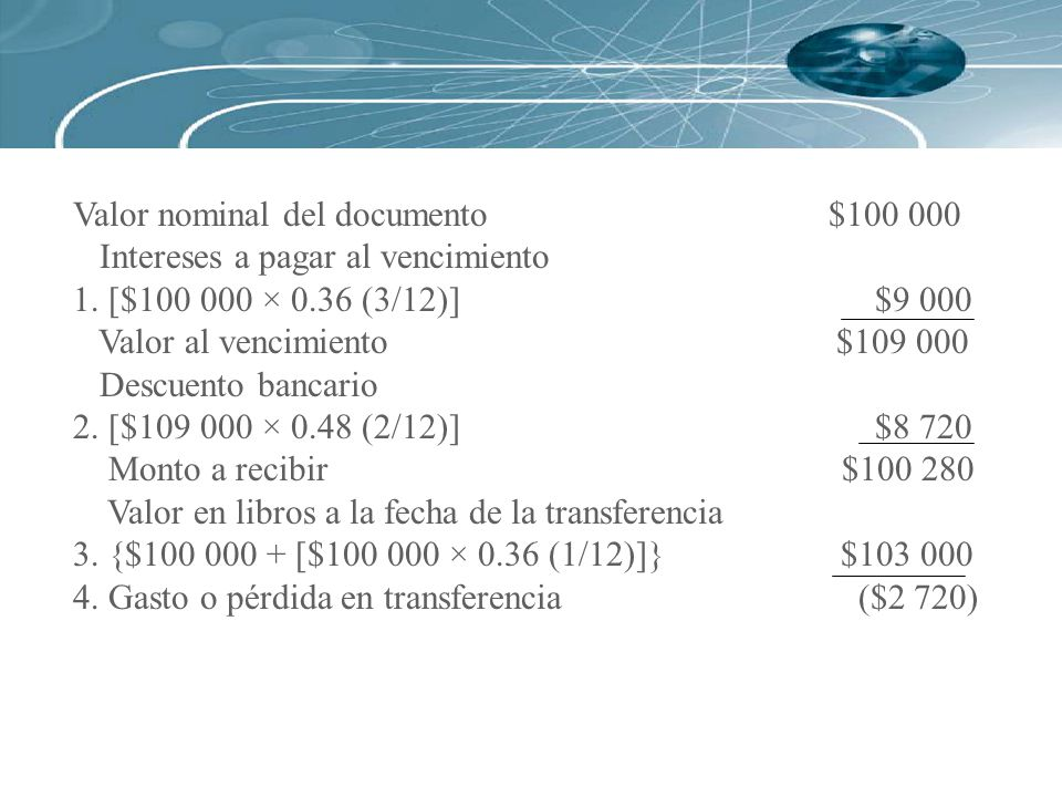 Valor nominal del documento $100 000