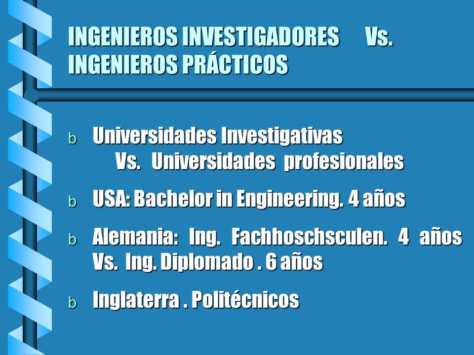 INGENIEROS INVESTIGADORES Vs. INGENIEROS PRÁCTICOS