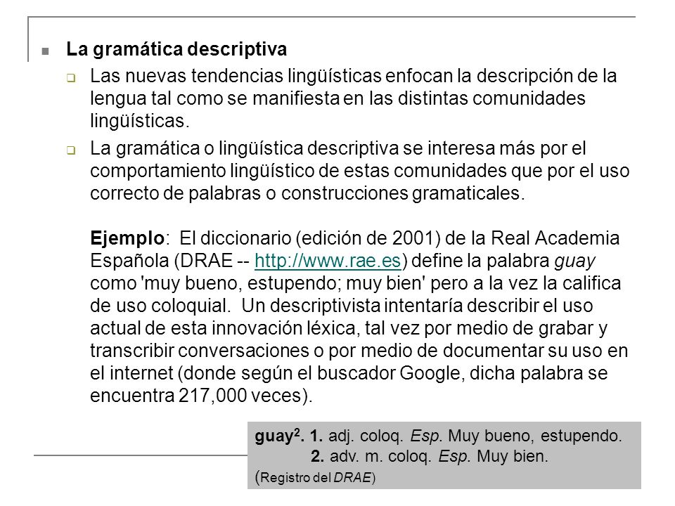 La gramática descriptiva