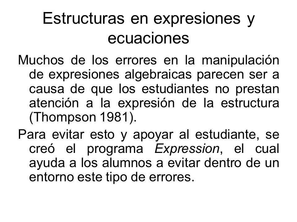 Estructuras en expresiones y ecuaciones