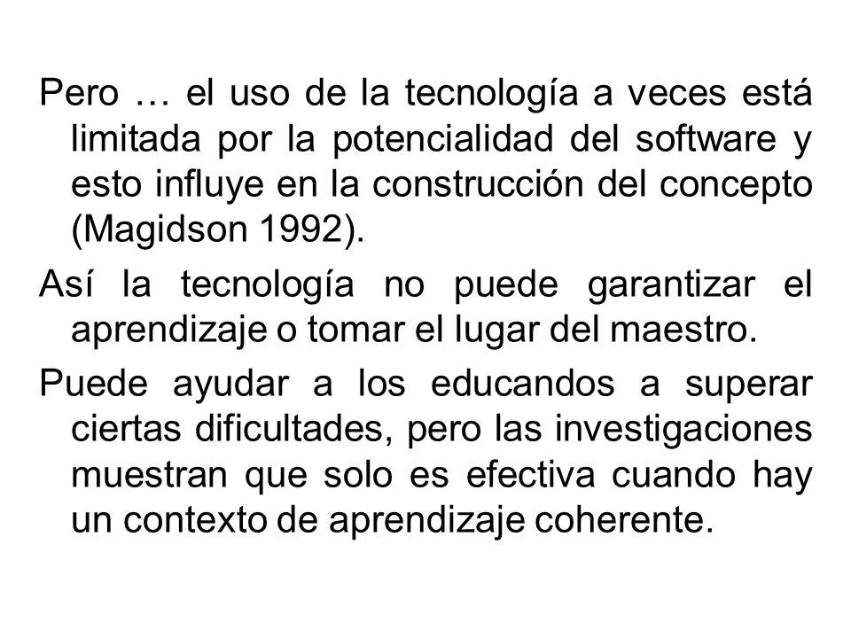 Pero … el uso de la tecnología a veces está limitada por la potencialidad del software y esto influye en la construcción del concepto (Magidson 1992).
