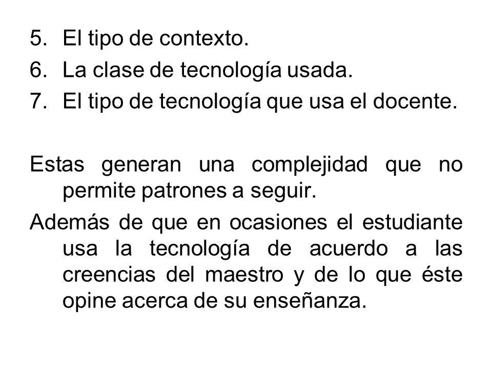 El tipo de contexto. La clase de tecnología usada. El tipo de tecnología que usa el docente.