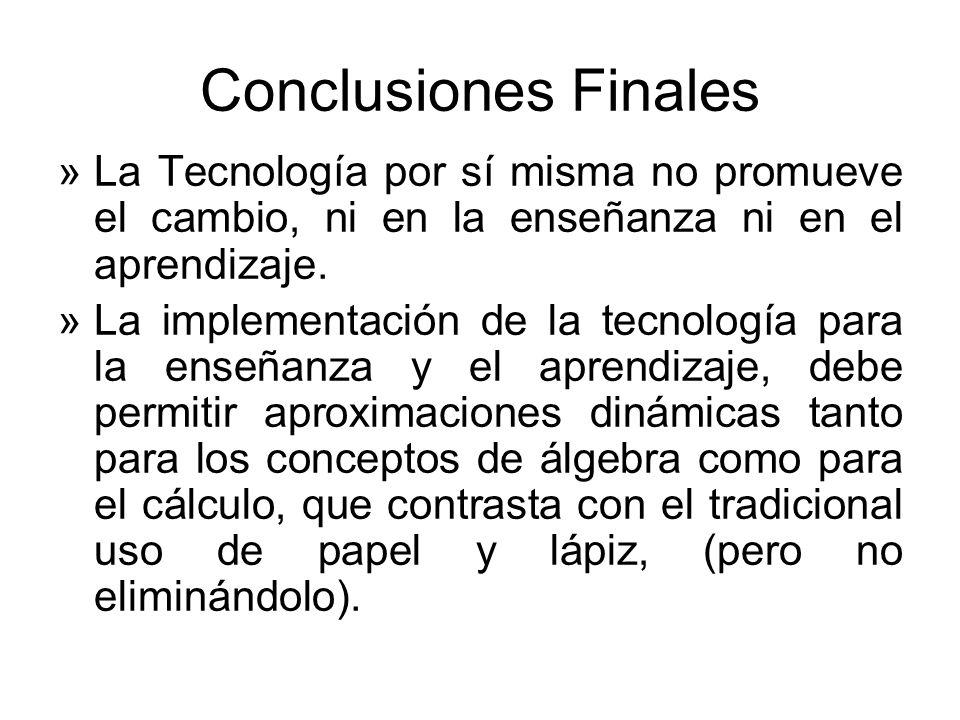 Conclusiones FinalesLa Tecnología por sí misma no promueve el cambio, ni en la enseñanza ni en el aprendizaje.