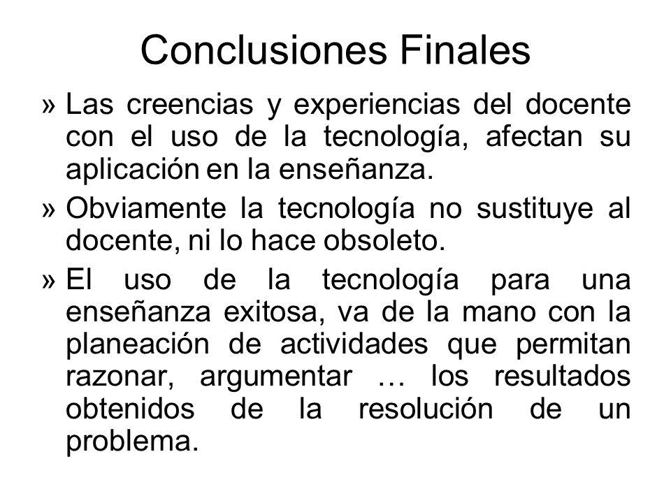 Conclusiones FinalesLas creencias y experiencias del docente con el uso de la tecnología, afectan su aplicación en la enseñanza.