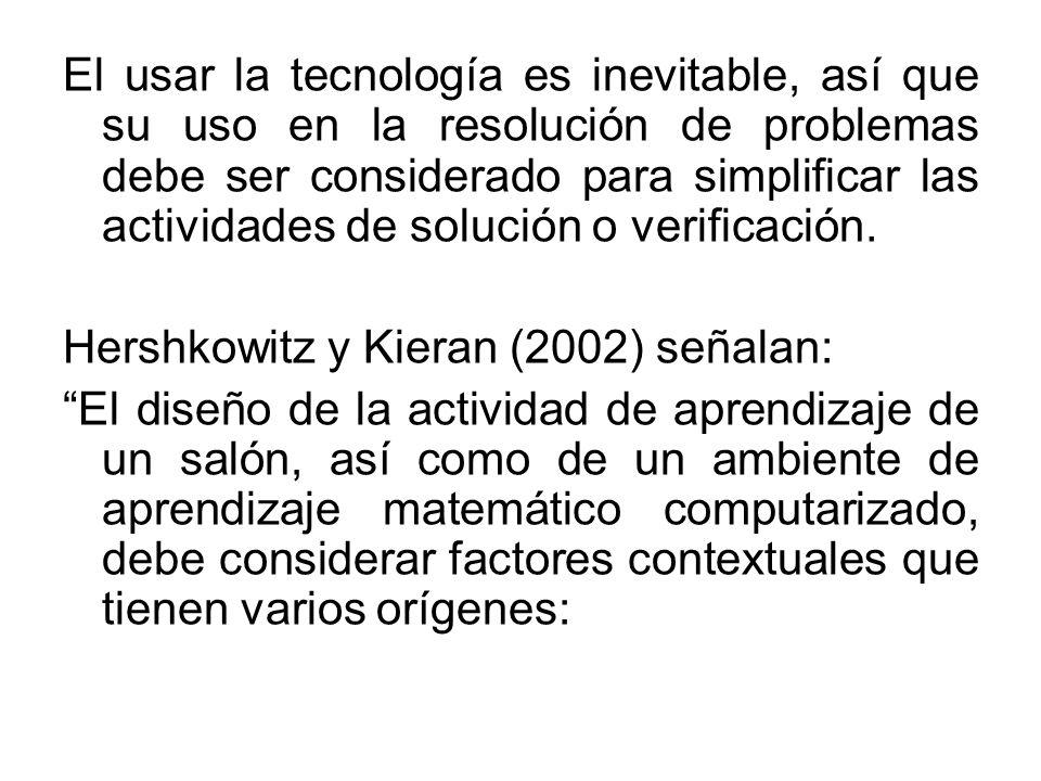 El usar la tecnología es inevitable, así que su uso en la resolución de problemas debe ser considerado para simplificar las actividades de solución o verificación.