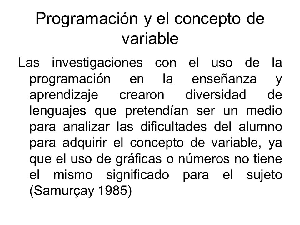Programación y el concepto de variable