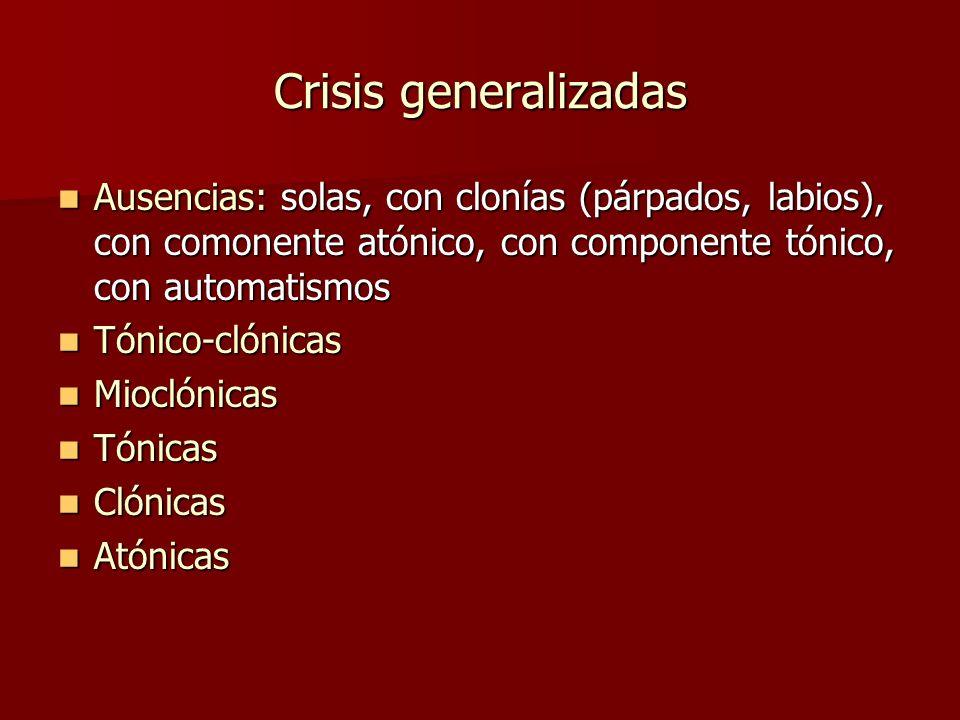 Crisis generalizadas Ausencias: solas, con clonías (párpados, labios), con comonente atónico, con componente tónico, con automatismos.