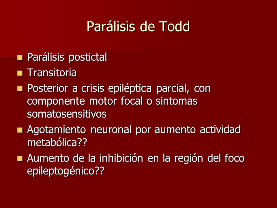 Parálisis de Todd Parálisis postictal Transitoria