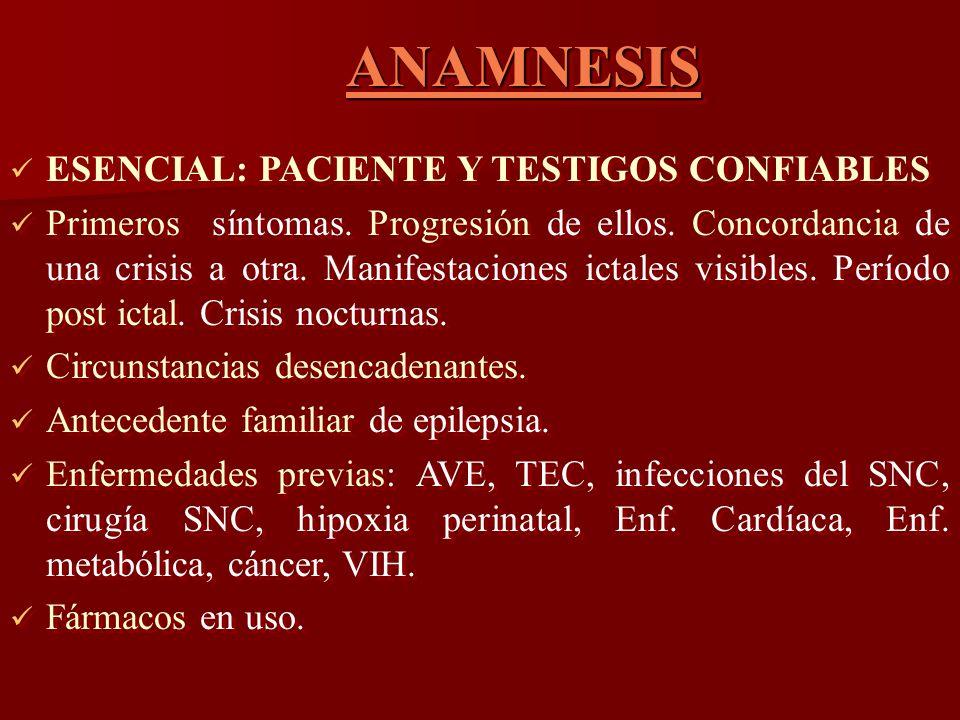 ANAMNESIS ESENCIAL: PACIENTE Y TESTIGOS CONFIABLES.