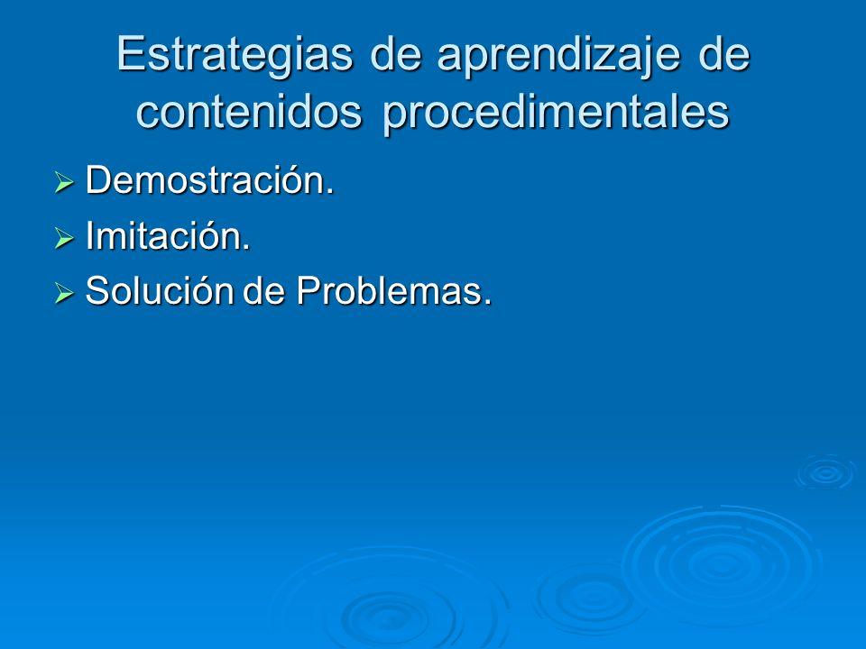 Estrategias de aprendizaje de contenidos procedimentales