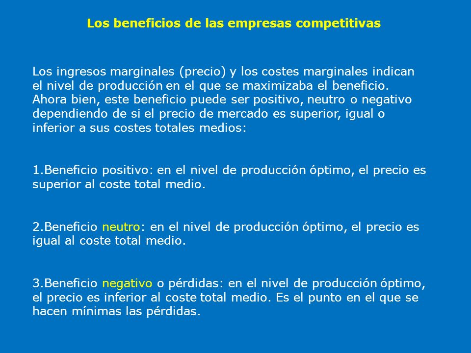 Los beneficios de las empresas competitivas