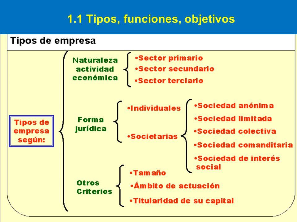 1.1 Tipos, funciones, objetivos