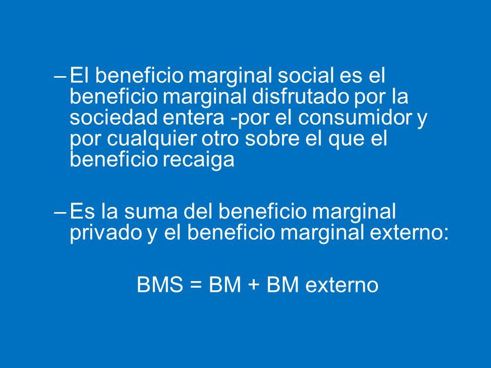El beneficio marginal social es el beneficio marginal disfrutado por la sociedad entera -por el consumidor y por cualquier otro sobre el que el beneficio recaiga