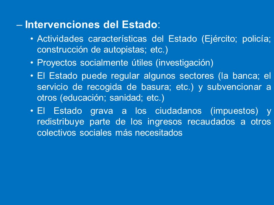 Intervenciones del Estado: