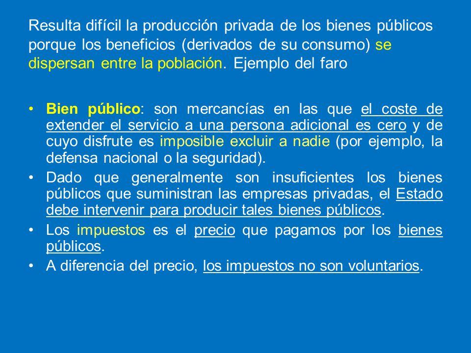 Resulta difícil la producción privada de los bienes públicos porque los beneficios (derivados de su consumo) se dispersan entre la población. Ejemplo del faro