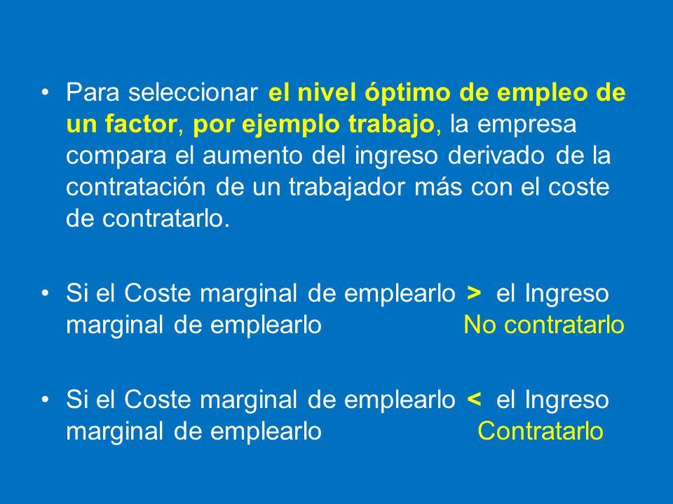 Para seleccionar el nivel óptimo de empleo de un factor, por ejemplo trabajo, la empresa compara el aumento del ingreso derivado de la contratación de un trabajador más con el coste de contratarlo.