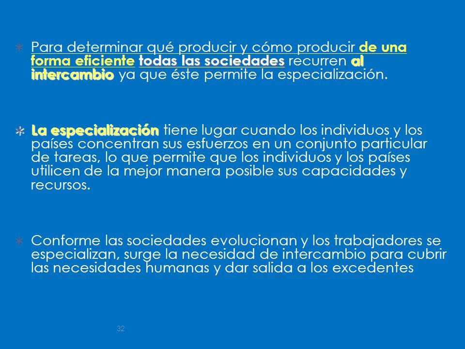 Para determinar qué producir y cómo producir de una forma eficiente todas las sociedades recurren al intercambio ya que éste permite la especialización.