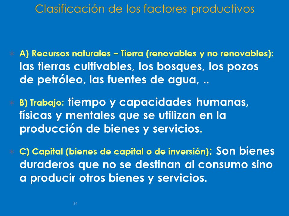 Clasificación de los factores productivos