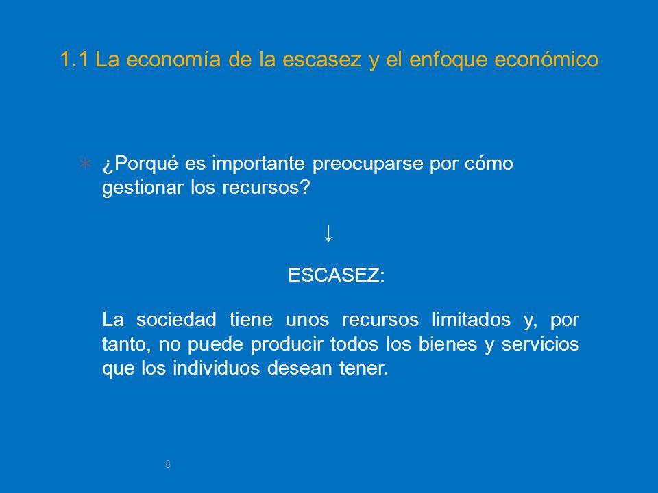 1.1 La economía de la escasez y el enfoque económico