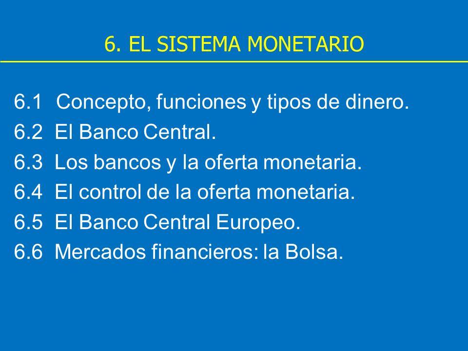 6. EL SISTEMA MONETARIO 6.1 Concepto, funciones y tipos de dinero. 6.2 El Banco Central. 6.3 Los bancos y la oferta monetaria.