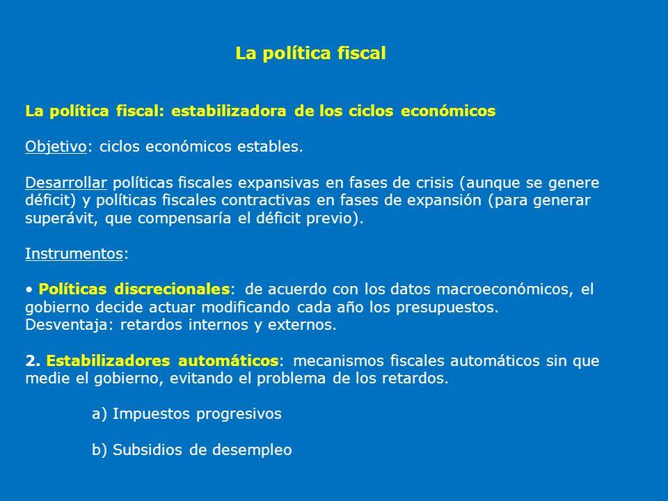 La política fiscal La política fiscal: estabilizadora de los ciclos económicos. Objetivo: ciclos económicos estables.
