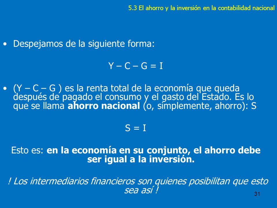5.3 El ahorro y la inversión en la contabilidad nacional