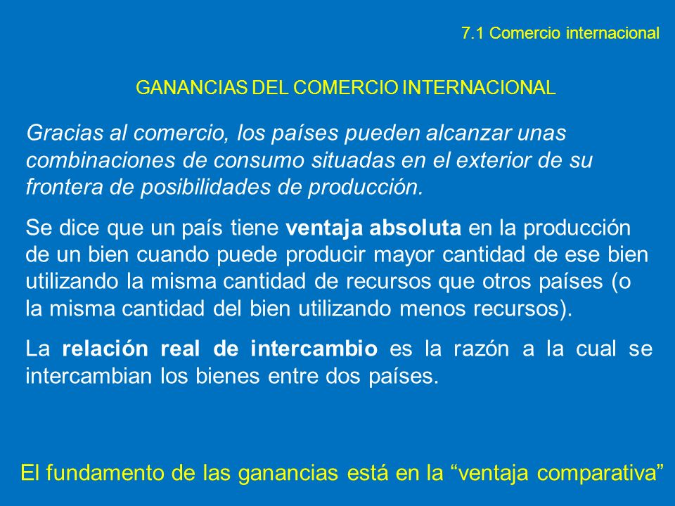 GANANCIAS DEL COMERCIO INTERNACIONAL