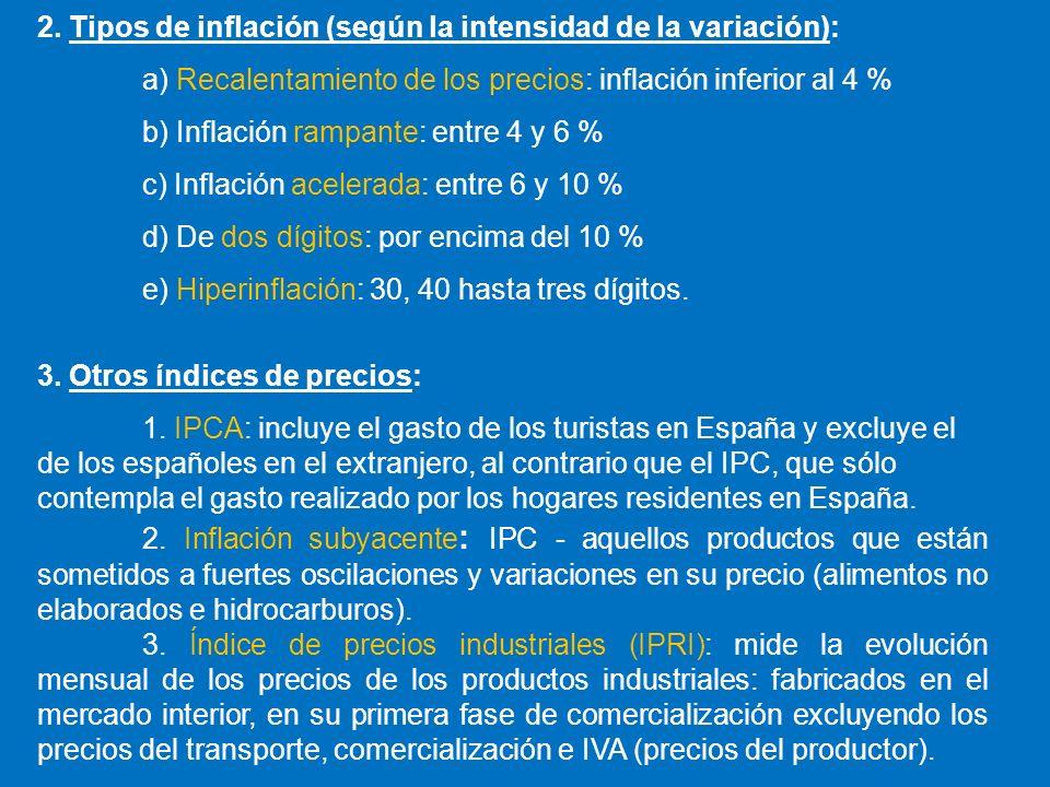 2. Tipos de inflación (según la intensidad de la variación):