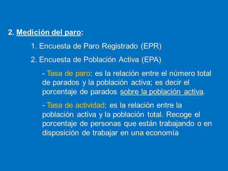 2. Medición del paro: 1. Encuesta de Paro Registrado (EPR) 2. Encuesta de Población Activa (EPA)