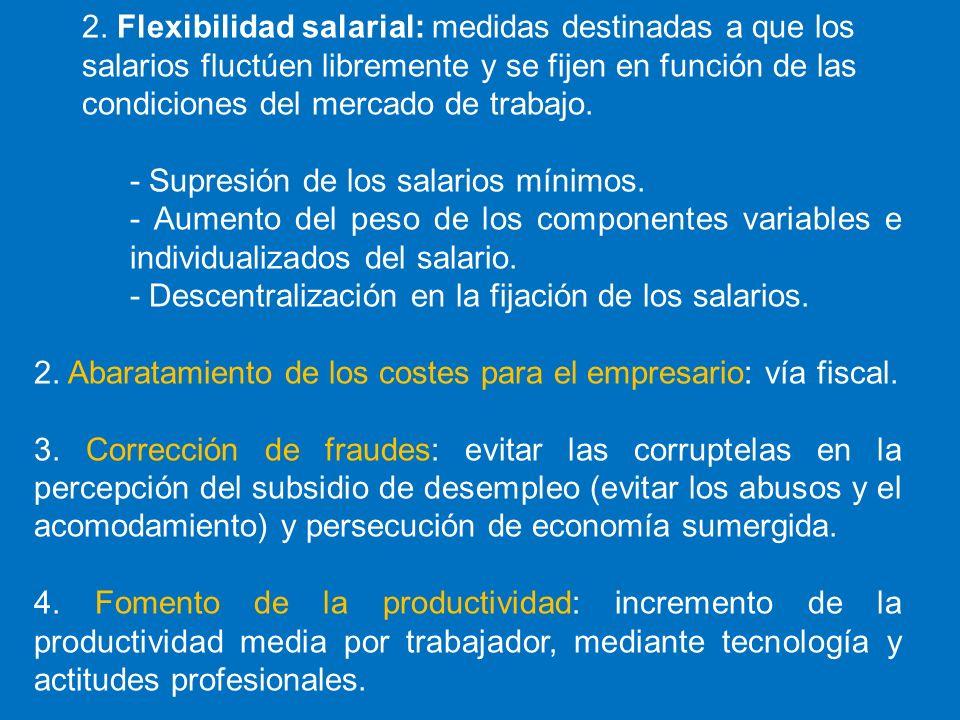 2. Flexibilidad salarial: medidas destinadas a que los salarios fluctúen libremente y se fijen en función de las condiciones del mercado de trabajo.