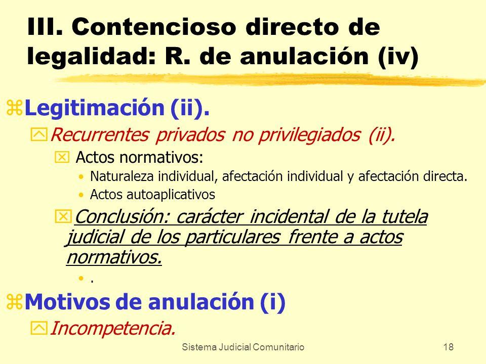 III. Contencioso directo de legalidad: R. de anulación (iv)