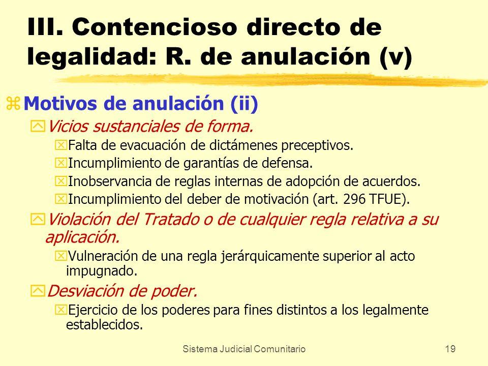 III. Contencioso directo de legalidad: R. de anulación (v)