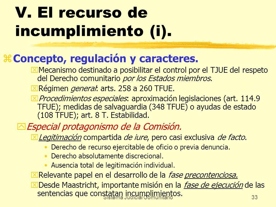 V. El recurso de incumplimiento (i).