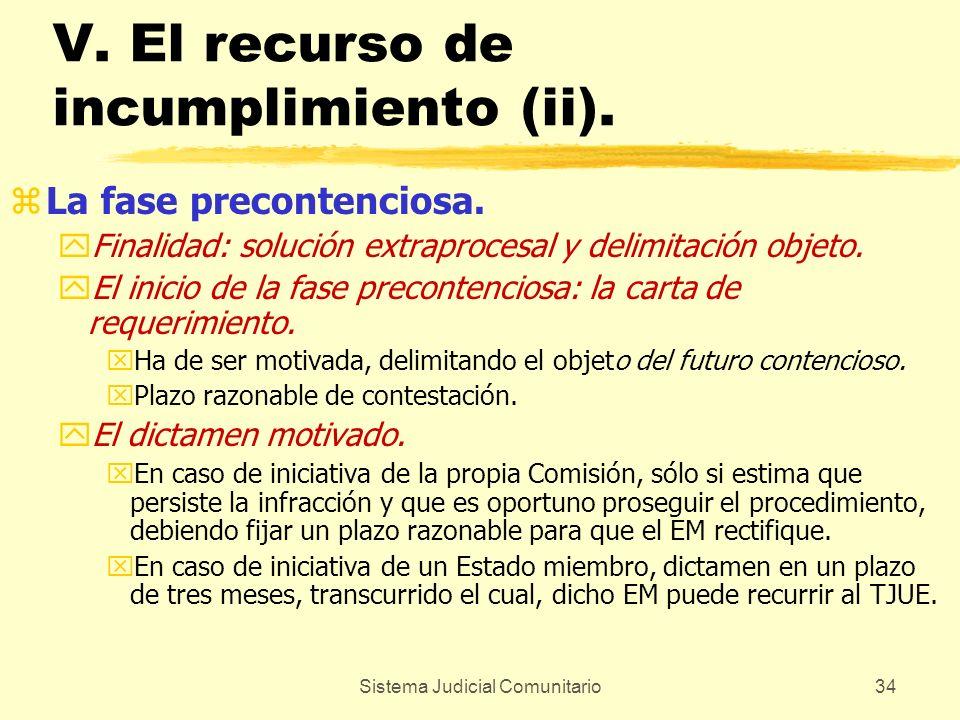V. El recurso de incumplimiento (ii).