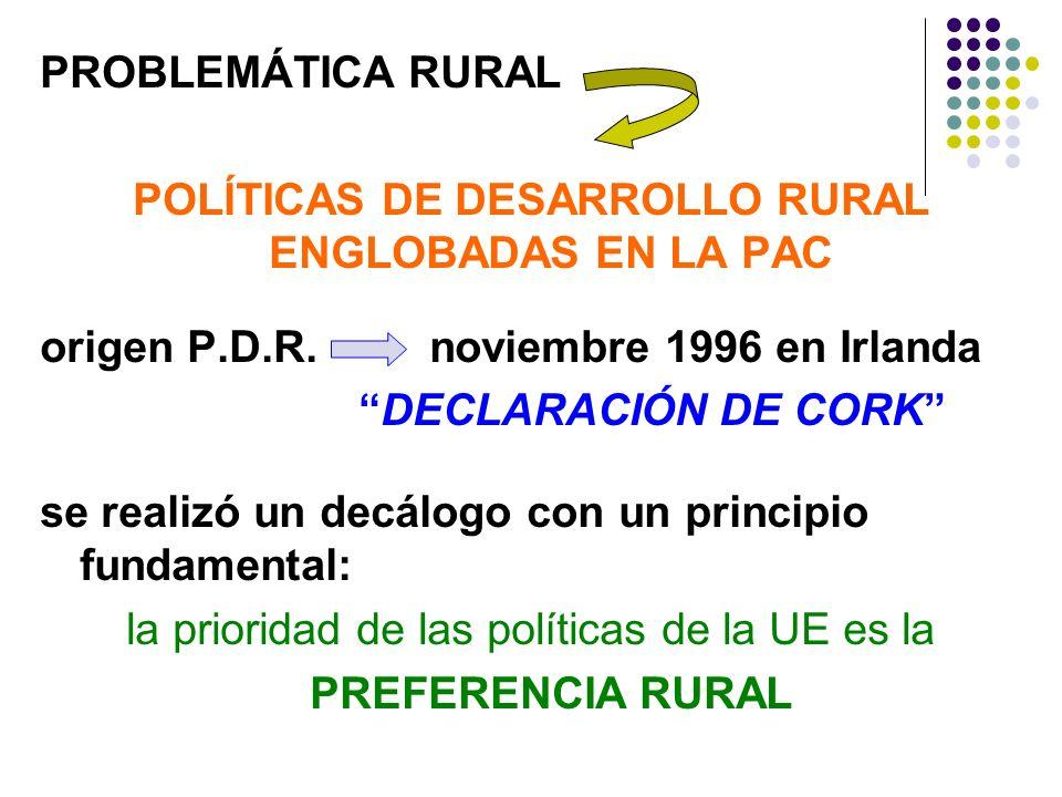 POLÍTICAS DE DESARROLLO RURAL ENGLOBADAS EN LA PAC