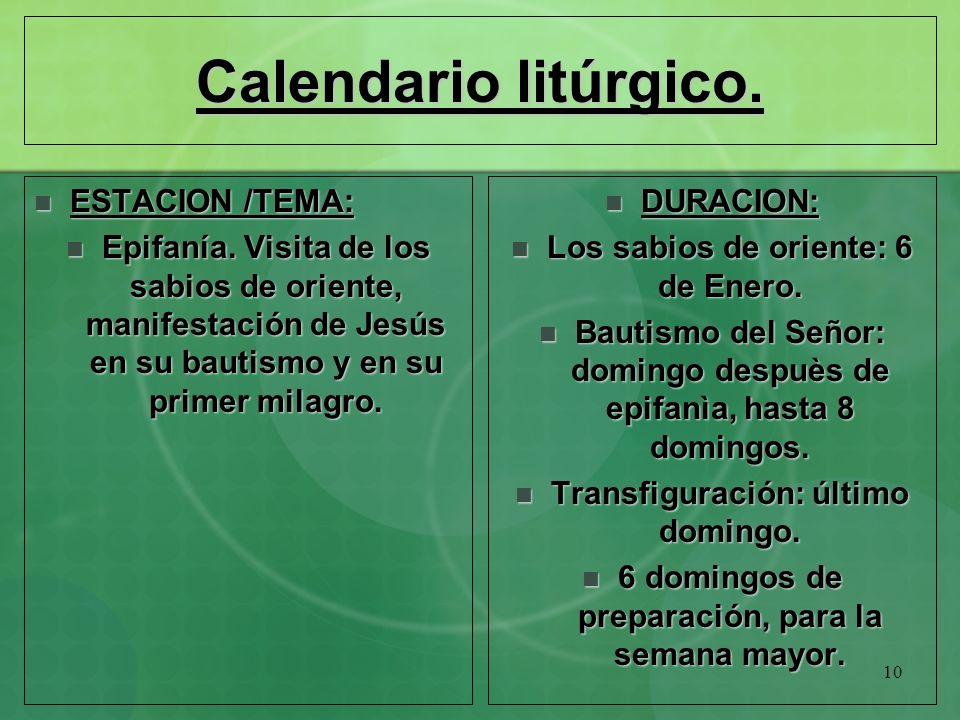 Calendario litúrgico. ESTACION /TEMA:
