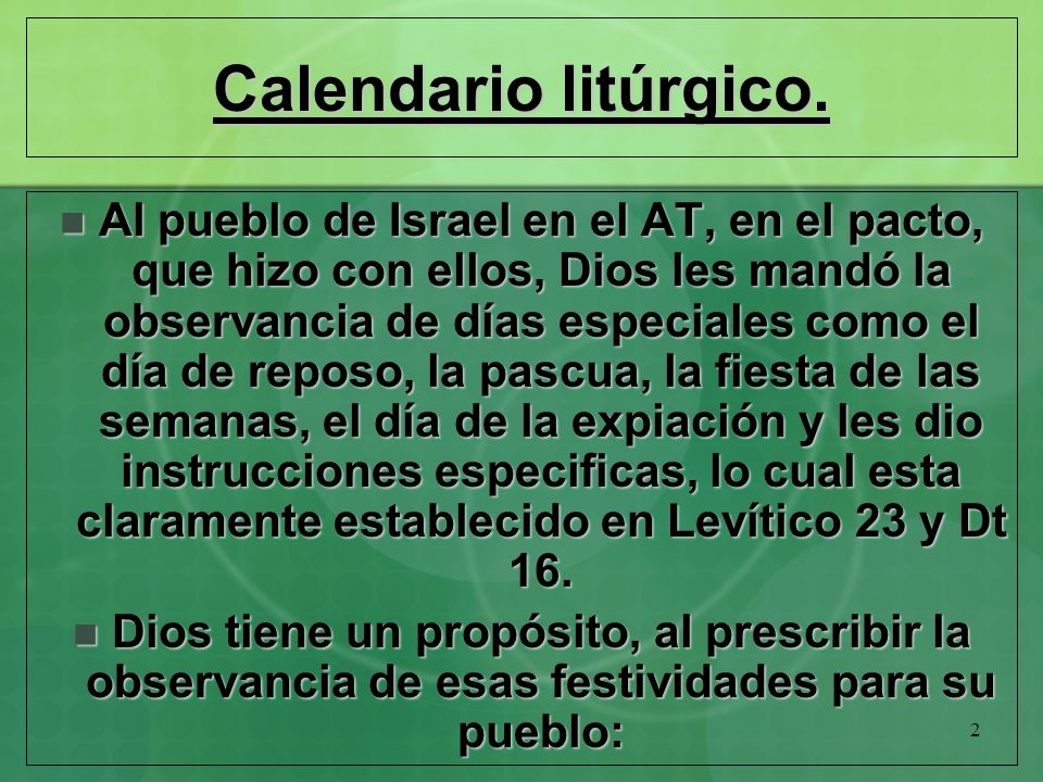 Calendario litúrgico.