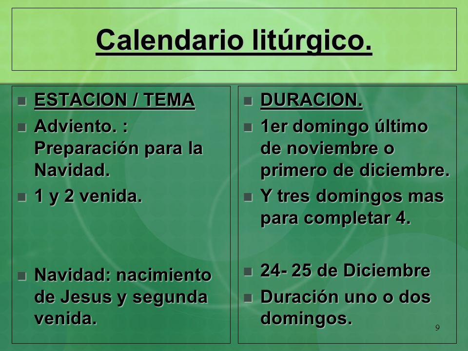 Calendario litúrgico. ESTACION / TEMA